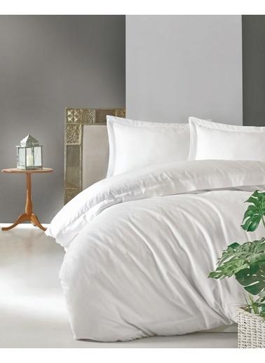 Cotton Box Elegant %100 Pamuk Saten Çift Kisilik Nevresim Takımı Beyaz Beyaz